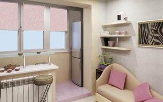 Правила объединения балкона с кухней и варианты обустройства