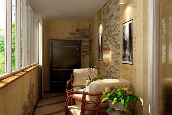 Отделки балконов и лоджий камнем