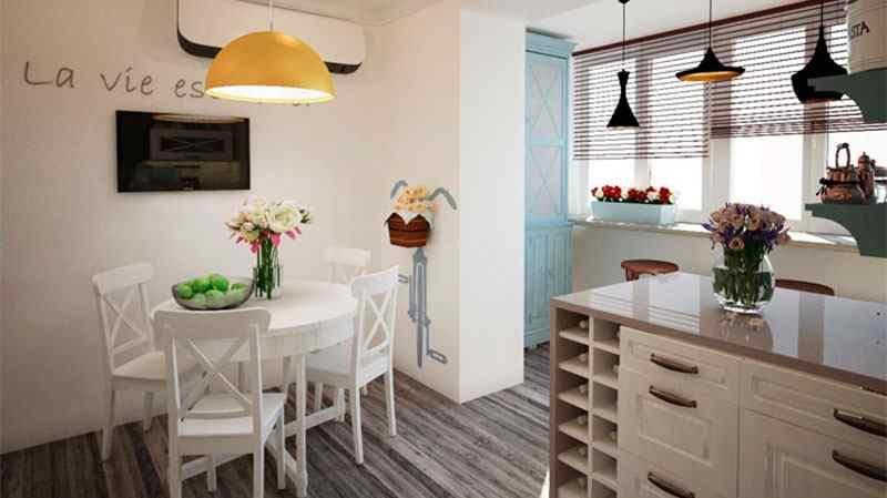Просторное кухонное пространство после объединения с лоджией