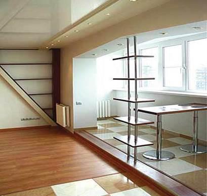 Совместить кухню с балконом при наличии порога