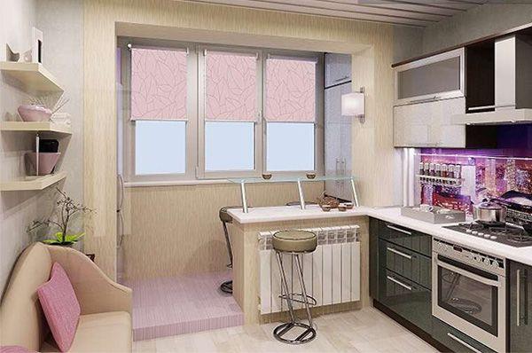 Вариант дизайна небольшой кухни с балконом