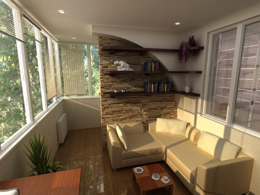 Внешний вид интерьера для балкона большого размера