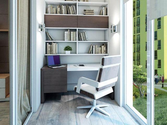 Интерьер балкона в квартире – рабочий кабинет