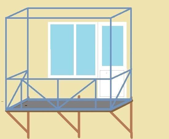 Изготовление балконов на 1 этаже - схема