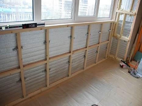 Каркас для обшивки балкона МДФ панелями