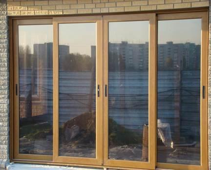 Пластиковые раздвижные балконные окна «под дерево»