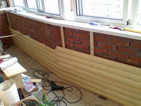 Процесс обшивки лоджии блок хаусом