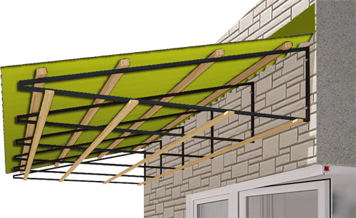 Козырек над балконом независимая конструкция
