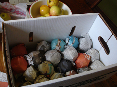 Яблоки в коробке для дальнейшего хранения