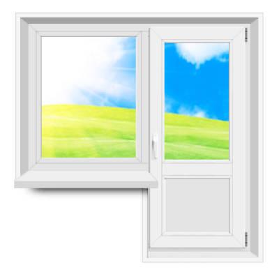 Окно с дверью на балкон