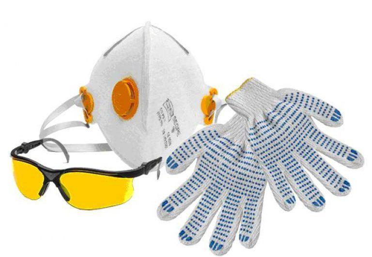 Респератор, очки, перчатки