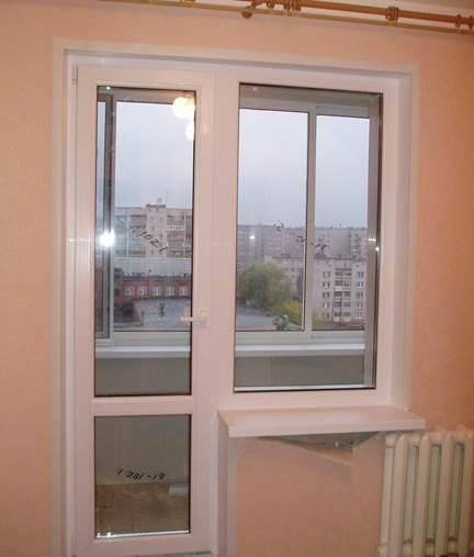 Стандартный балконный блок с узким окном