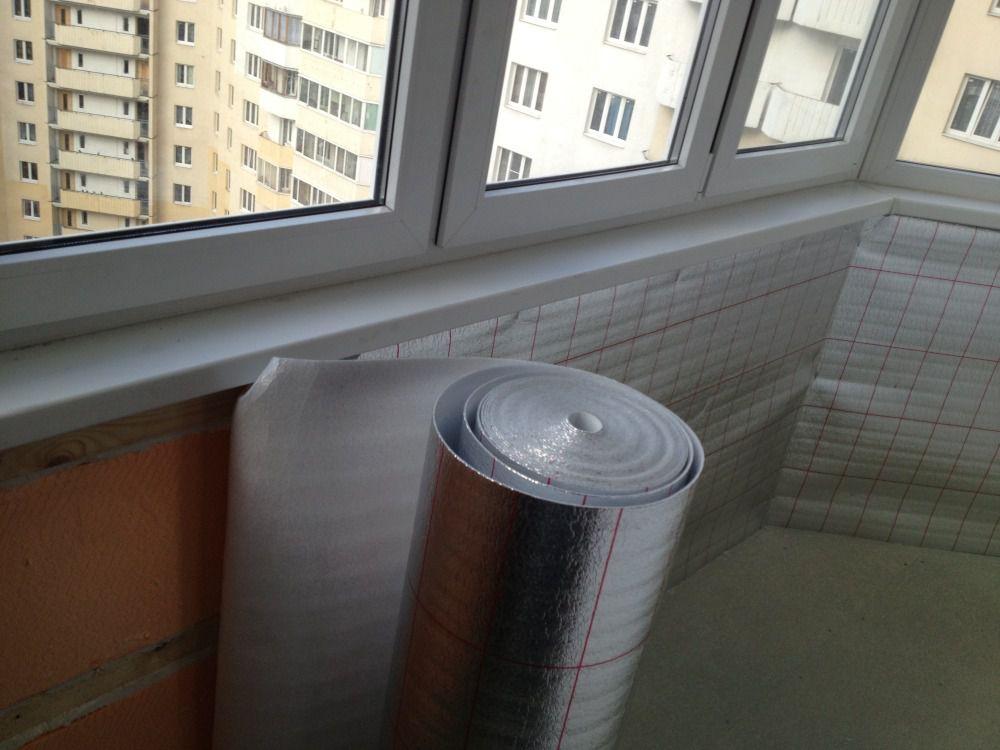 Укладки фольгированного полиэтилено после укладки основного утеплителя