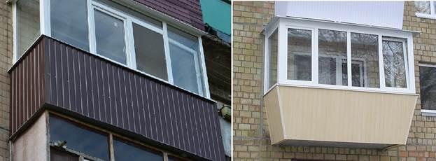 Балкон из металлопрофиля со стандартным и выносным остеклением