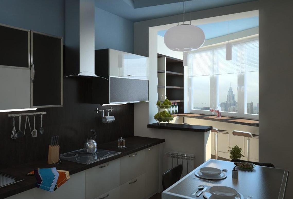 Кухни 15 кв. м со столешницей вместо подоконника