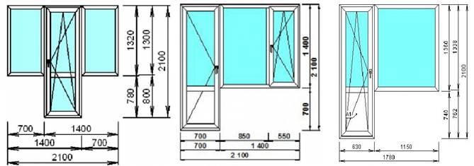 Стандартные размеры балконных блоков (ширина балконной двери 600 - 700 мм.)