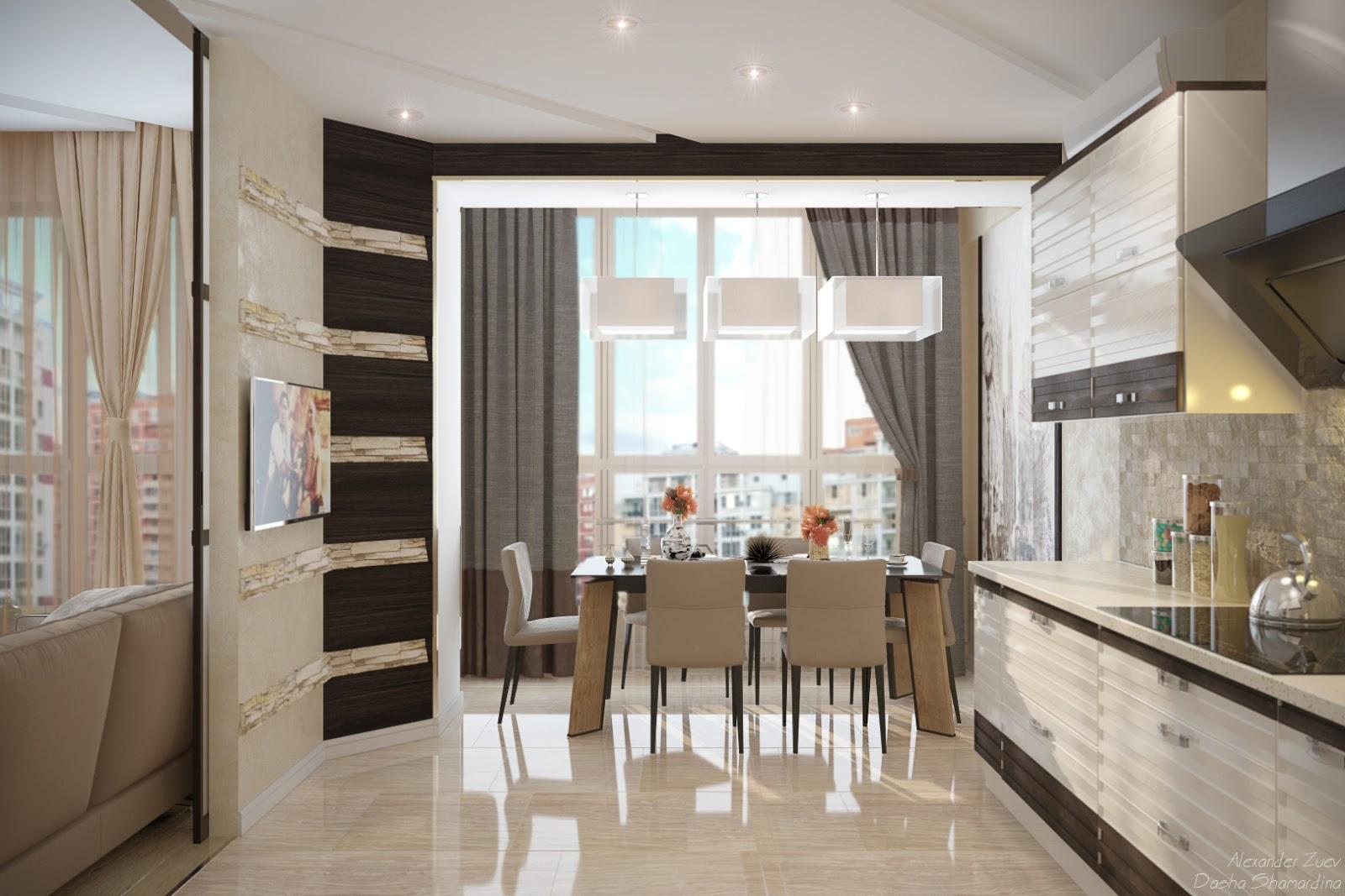 Точечные светильники на кухне и балконе