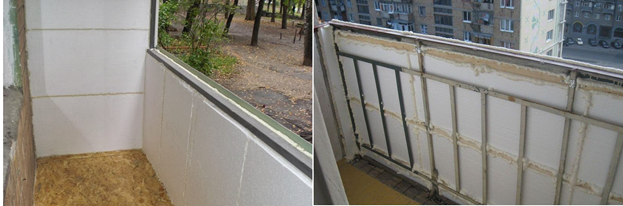 Утепление пола балкона пенопластом изнутри