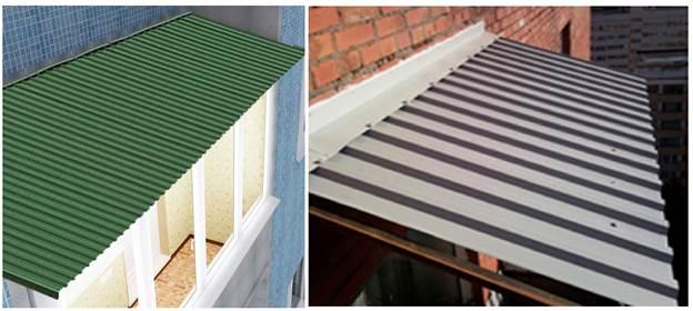 Балконные крыши из профилированного металлического листа