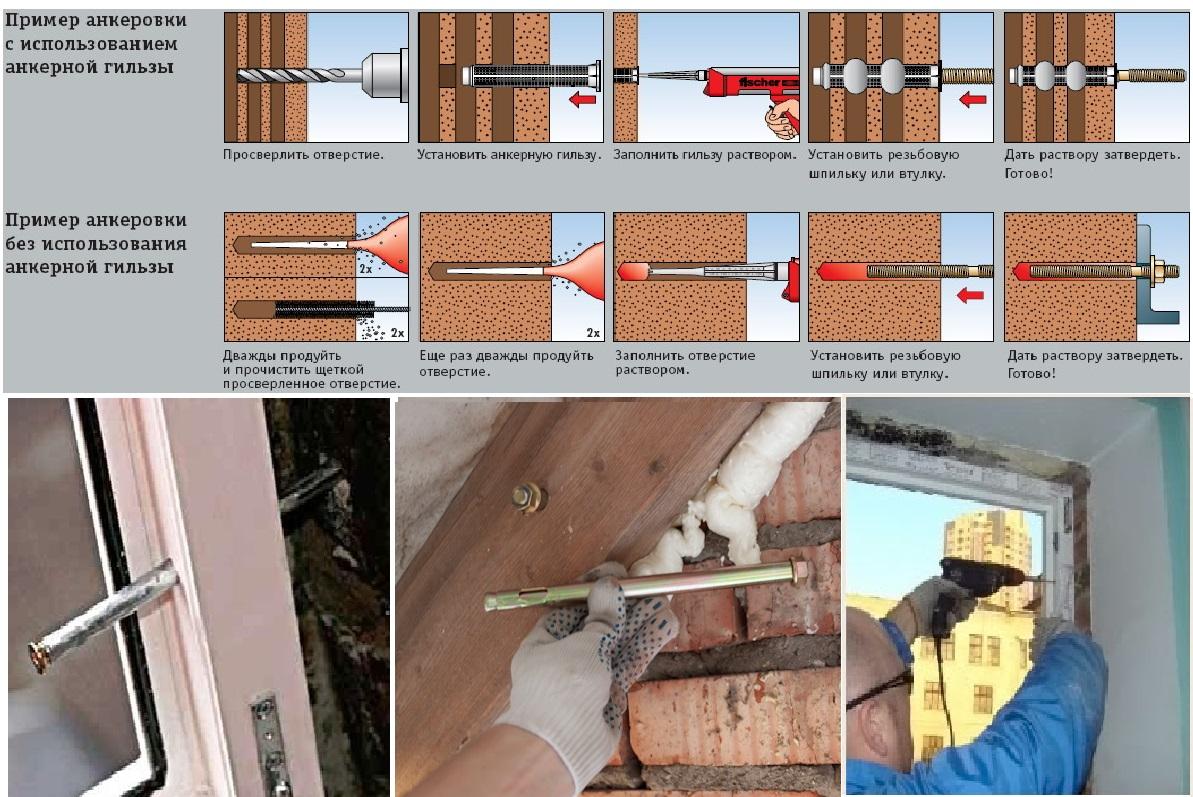 Установка блока из ПВХ в стену из кирпича на анкерное крепление