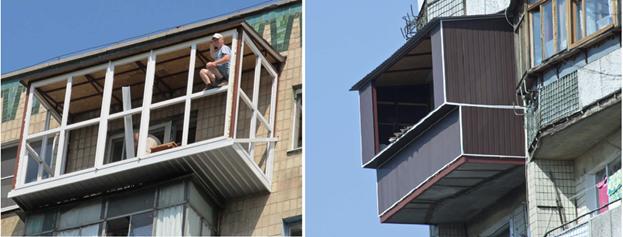 Устройство балкона без согласования планировки по ширине