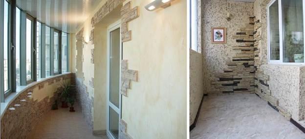 Балкон с искусственным камнем в сочетании с декоративной штукатуркой