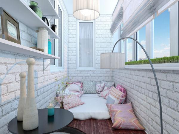 Дизайн спальни на балконе в современном азиатском стиле