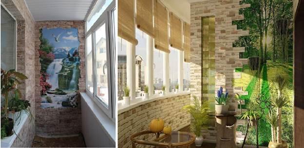 Фотообои и искусственный камень на балконе