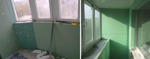 Отделка балкона гипсокартоном: обшивка влагостойким гипсокар.