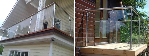 Ограждения для балкона в загородном доме из стекла