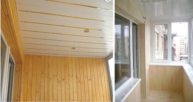Отделка балкона пластиковыми панелями в сочетании с деревом