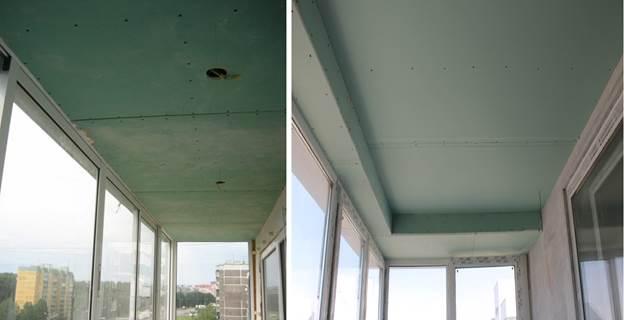Потолки из гипсокартона на утепленном балконе
