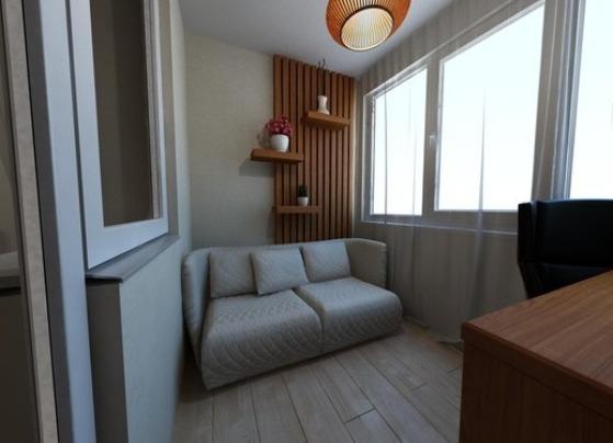 Ремонт для спальни и рабочей зоны на балконе