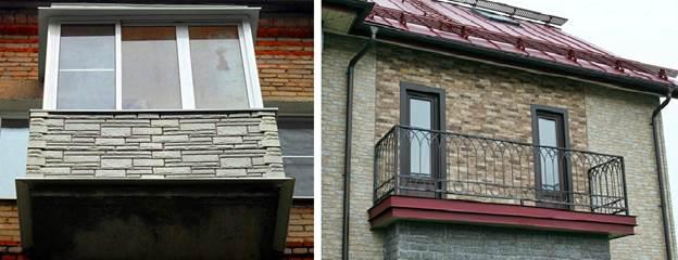 Внешняя отделка балконов камнем