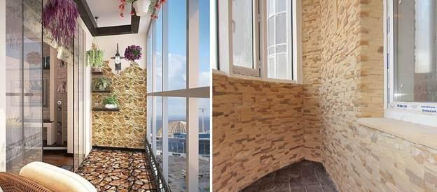 Внутренняя отделка балкона камнем