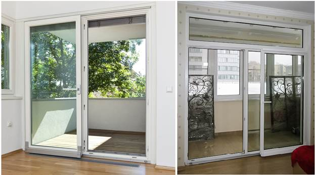 Наклонные раздвижные двери на балкон