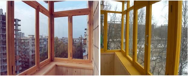Остекление балконов деревом с листовым стеклом