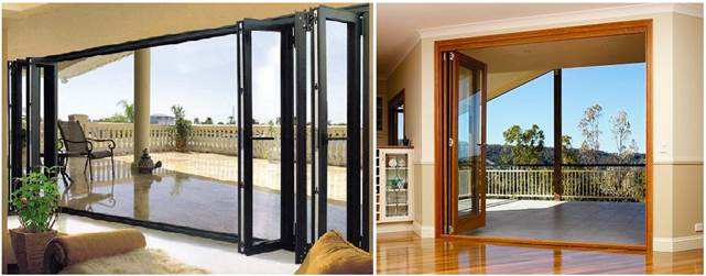 Раздвижные двери для балконов типа гармошка