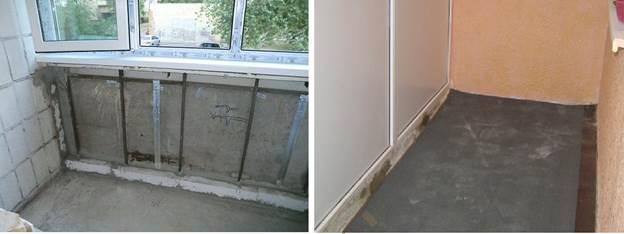 Заделка большой дырки под парапетом лоджии и балкона