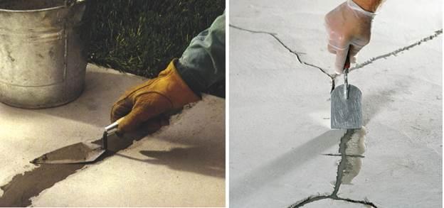 Заделка щелей и дыр цементными смесями