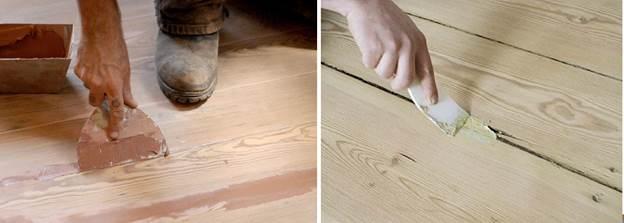 Замазка пространства между деревянными щелями шпаклевкой